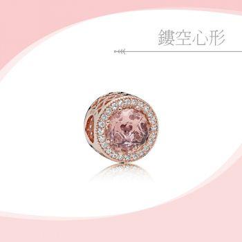 Pandora - 胭脂粉閃亮的心串飾