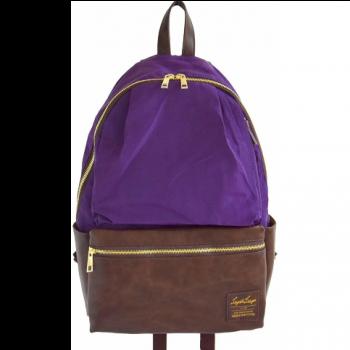 Legato Largo - 拼色皮革背包LRH1510PD 紫/啡色