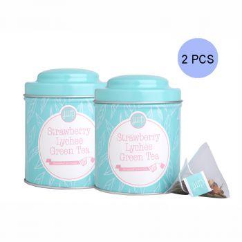 JWP - 草莓荔枝綠茶套裝2罐 (每罐內含10個茶包)