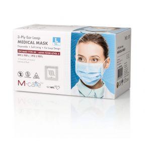 香港製造 M-Care EN14683 TYPE IIR / ASTM Level 2 一次性成人醫療口罩 50個 (獨立包裝)